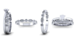 CAD image of diamond bridal set